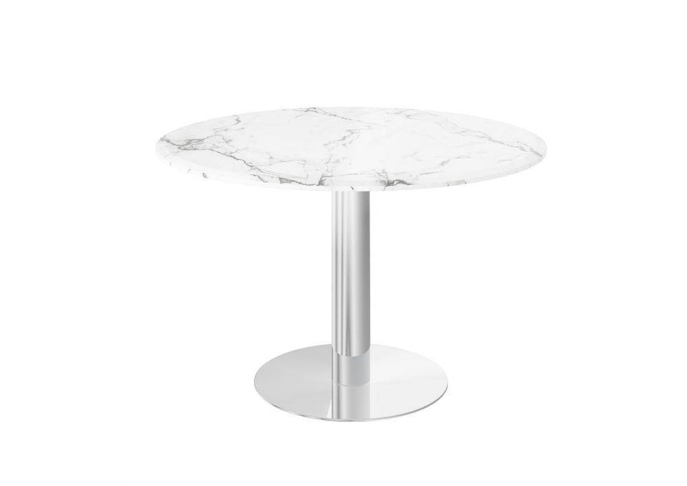 Parma Round 120cm Light Grey Marble Dining Table - Modern Home Interiors