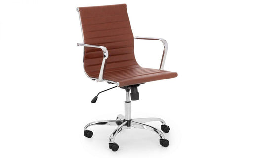 Gio Office Chair - Brown & Chrome - Modern Home Interiors