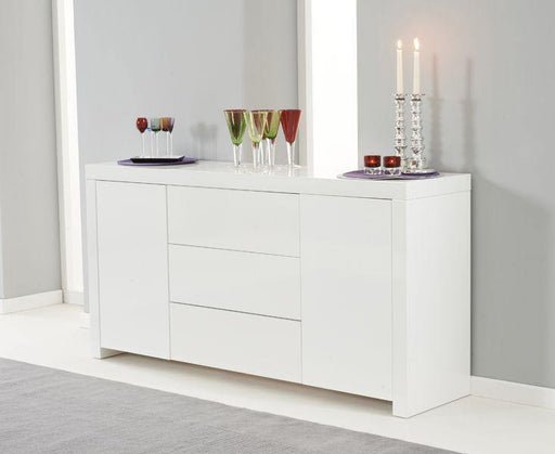 Hereford 2 Door 3 Drawer White High Gloss Sideboard - 160cm - Modern Home Interiors