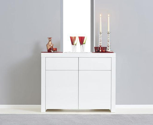 Hereford 2 Door 2 Drawer White High Gloss Sideboard - 80cm - Modern Home Interiors