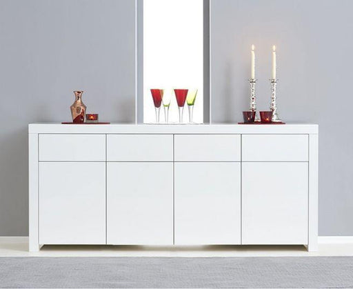 Hereford 4 Door 4 Drawer White High Gloss Sideboard - Modern Home Interiors