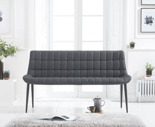 Horacio Grey Faux Leather Bench - Modern Home Interiors