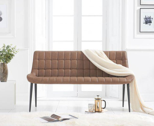 Horacio Brown Faux Leather Bench - Modern Home Interiors