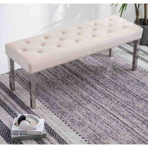 Knightsbridge Cream French Velvet Bench With Chrome Legs - Modern Home Interiors