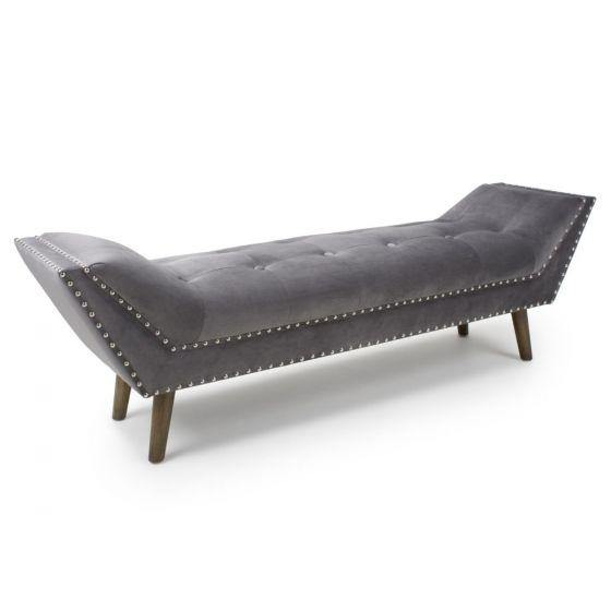 Montrose Large Brushed Velvet Grey Chaise - Modern Home Interiors