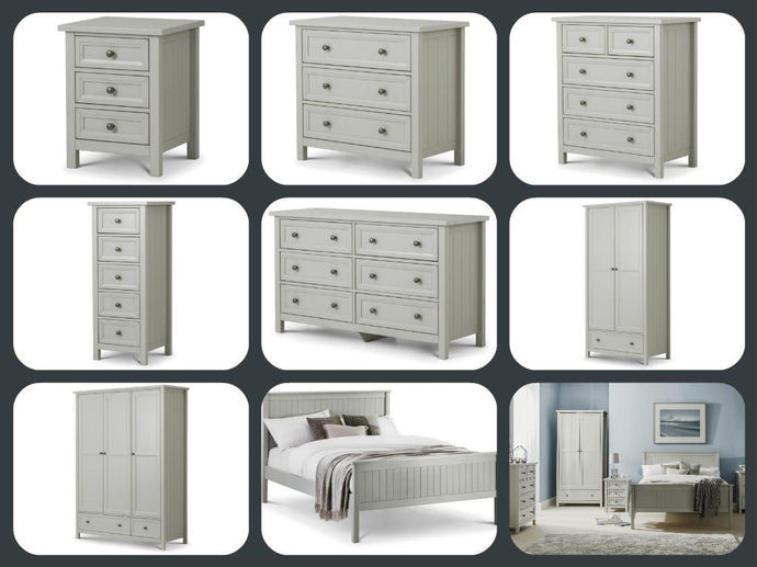 Julian Bowen Maine New England Shaker Style Full Bedroom Set in Dove Grey - Modern Home Interiors