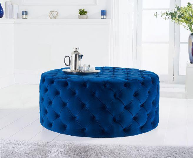 Montrose Blue Velvet Round Footstool - Medium - Modern Home Interiors