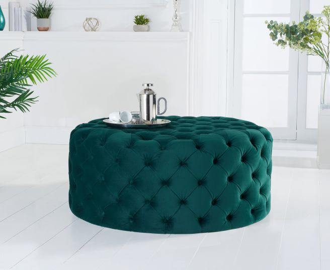 Montrose Green Velvey Round Footstool - Medium - Modern Home Interiors