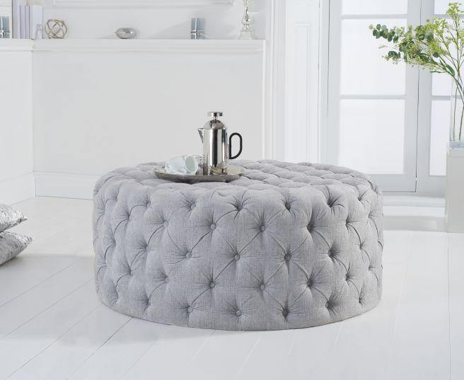 Montrose Grey Plush Round Footstool - Medium - Modern Home Interiors