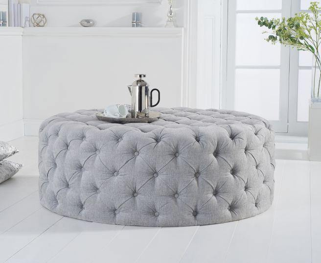 Montrose Grey Plush Round Footstool - Large - Modern Home Interiors