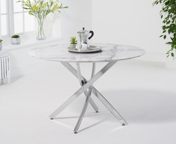 Clara Round 120cm White Marble Table - Modern Home Interiors