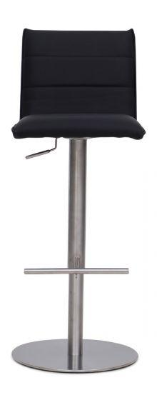 Riva Black Leather Barstool - Modern Home Interiors