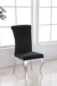 Liarra Plush Velvet Fabric Dining Chair - Black - Modern Home Interiors