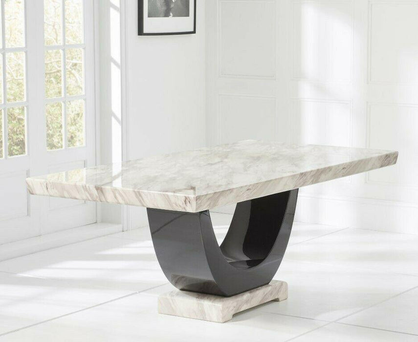 Ravelli 170cm Cream and Black Pedestal Marble Dining Table - Modern Home Interiors
