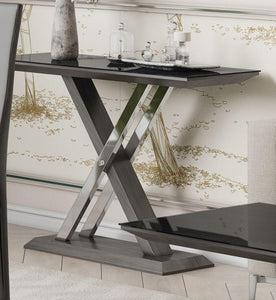 Xavi Black Glass and Walnut Console Table - Modern Home Interiors