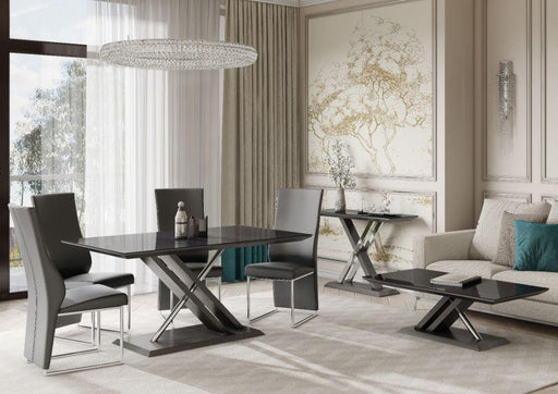 Xavi 160cm Black Glass Walnut Dining Table - Modern Home Interiors