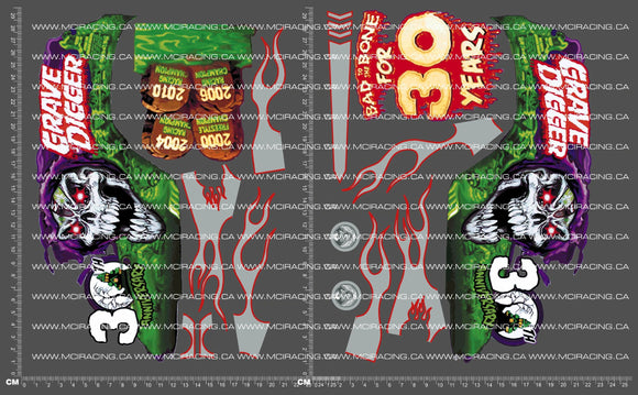 1/10TH MONSTER TRUCK - DIGER 30TH DECALS