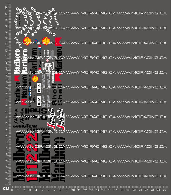 1/10TH FORMULA 1 - MCLAREN MP4 96 DECALS