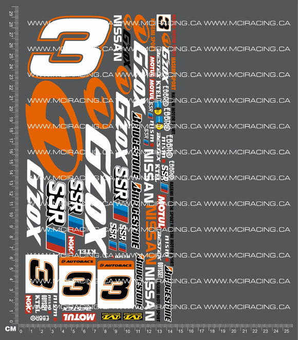 1/10TH NISSAN G'ZOX DECALS