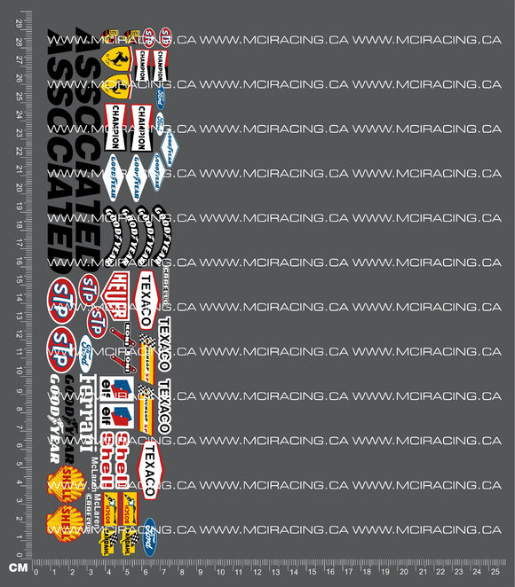 1/10TH ASSOCIATED - RC10 - GENERIC SHEET 3 DECALS