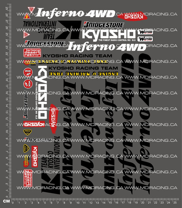 1/8TH KYOSHO - INFERNO 4WD DECALS