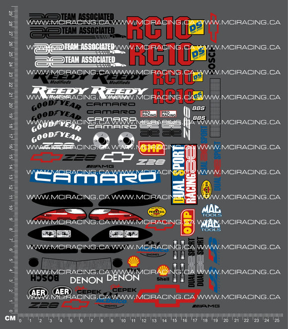 1/10TH ASSOCIATED - RC10 DS CAMARO DECALS