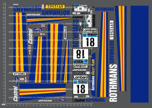 1/10TH ROTHMANS - FORD ESCORT RS1800 DECALS
