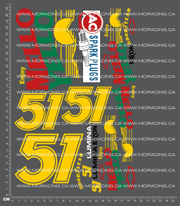 1/10TH NASCAR - DAYS OF THUNDER - MELLO YELLO 51 DECALS