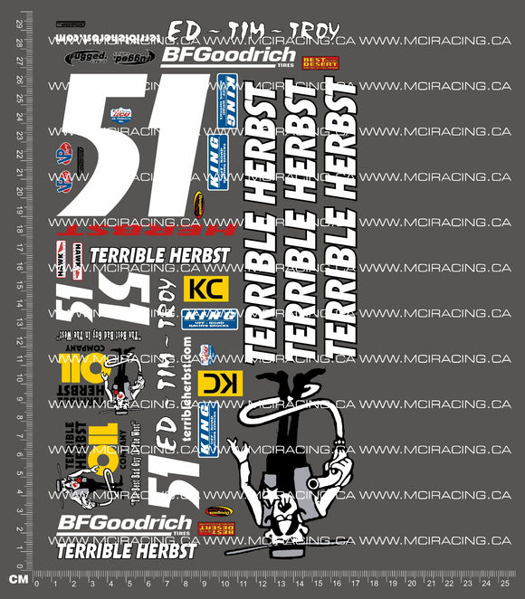 1/10TH SHORT COURSE TRUCK - HERBST 51 DECALS