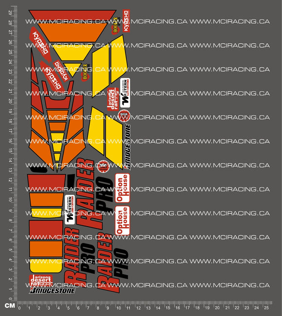 1/10TH KYOSHO - RAIDER PRO DECALS