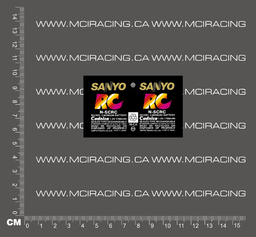 1/10TH BATTERY RC SUB C CELL - SANYO RC DECAL