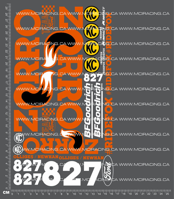 1/10TH SHORT COURSE TRUCK - ZORRO VERSION 2 DECALS