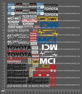 1/10TH SHORT COURSE TRUCK - MCI TOYOTA DECALS