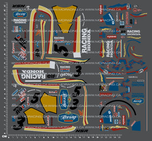 1/8TH KYOSHO MK1 MOTORCYCLE - HONDA NSR 500 - RACING HONDA DECALS