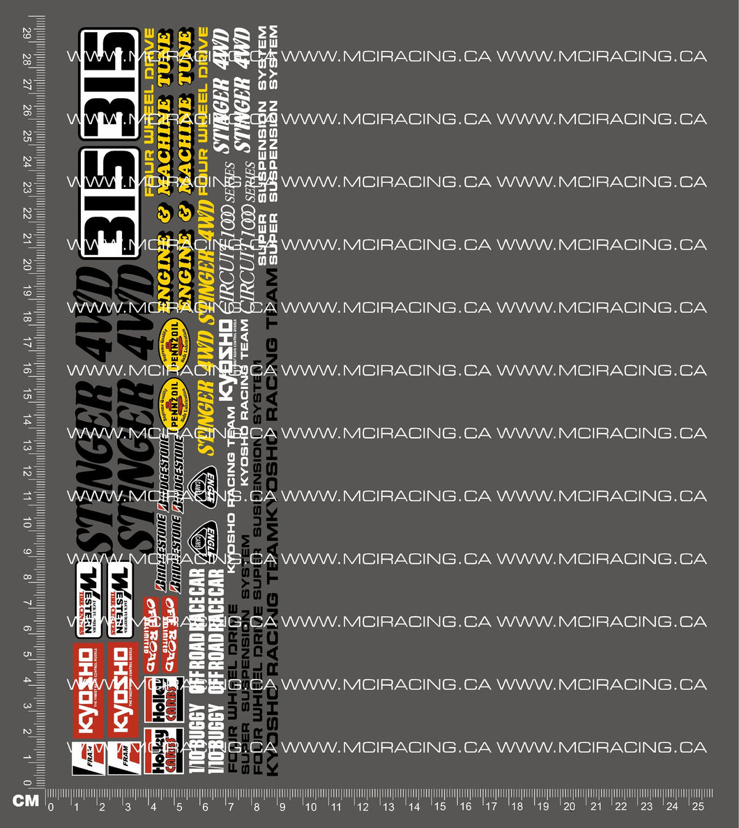 1/10TH KYOSHO - STINGER 4WD DECALS