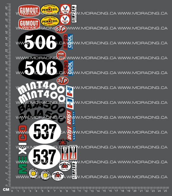 1/10TH TAM 58016 - RACING BUGGY SAND SCORCHER - SHEET A DECALS