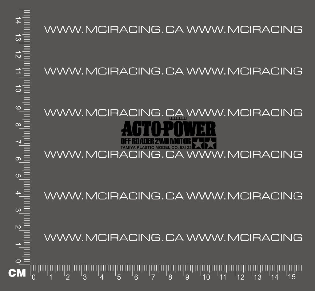 540 MOTOR DECAL - ACTO-POWER OFF ROADER 2WD MOTOR - BLACK