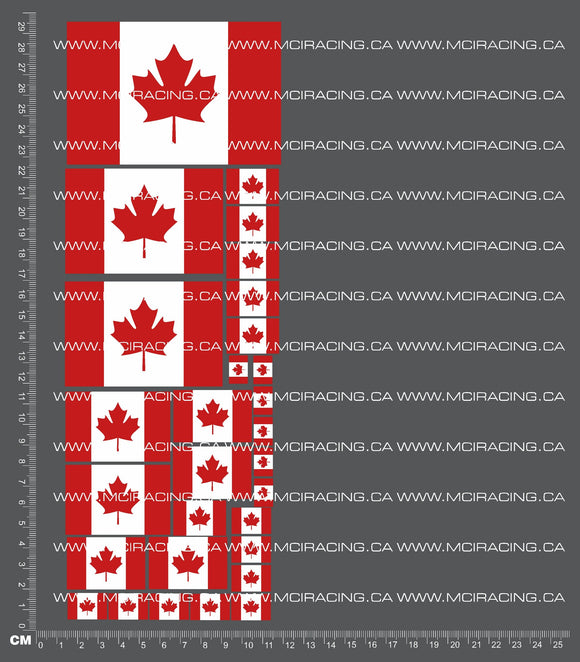 1/10TH FLAGS - CANADA DECALS