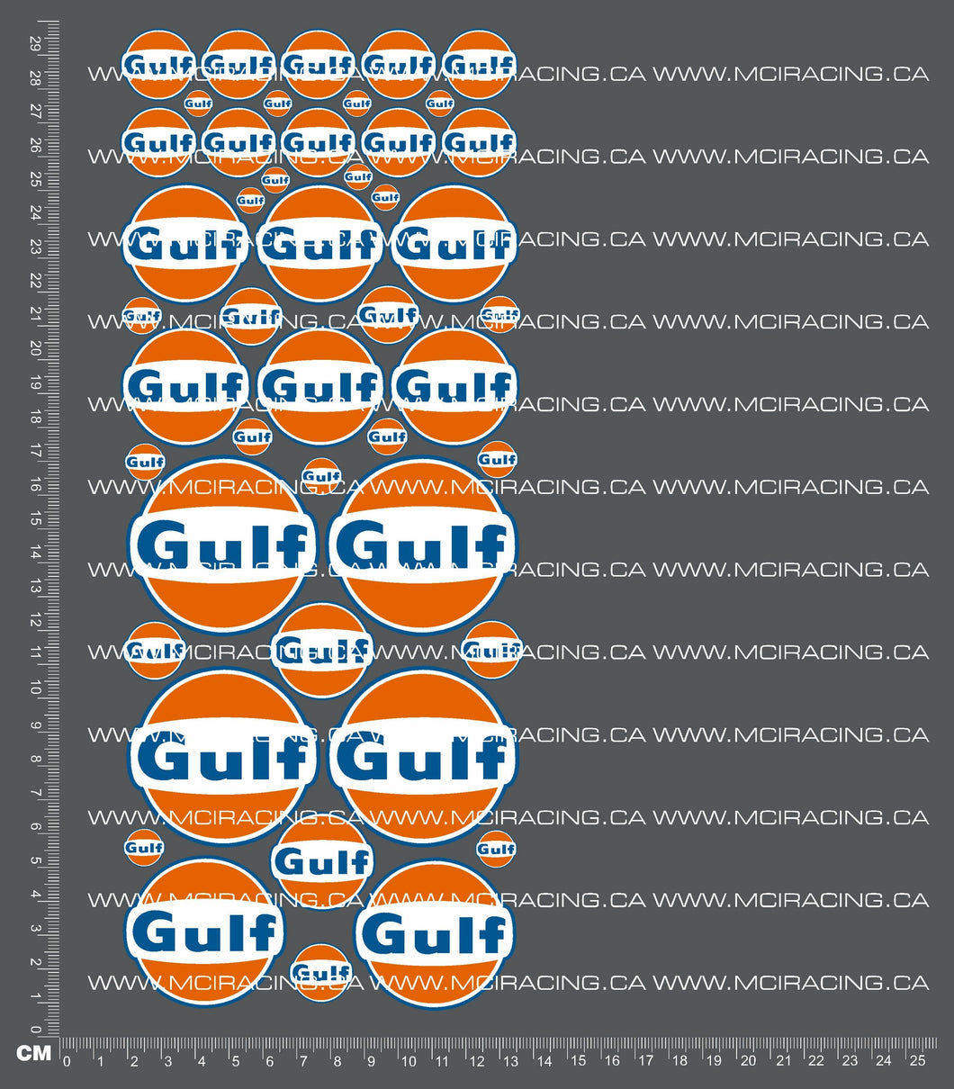 1/10TH GULF RACING DECALS