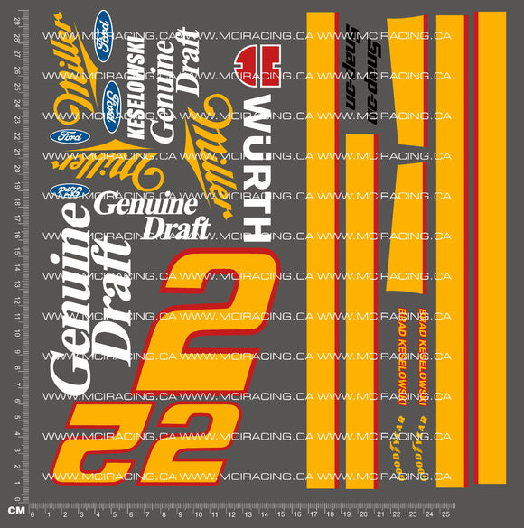 1/10TH NASCAR - MILLER GENUINE DRAFT DECALS