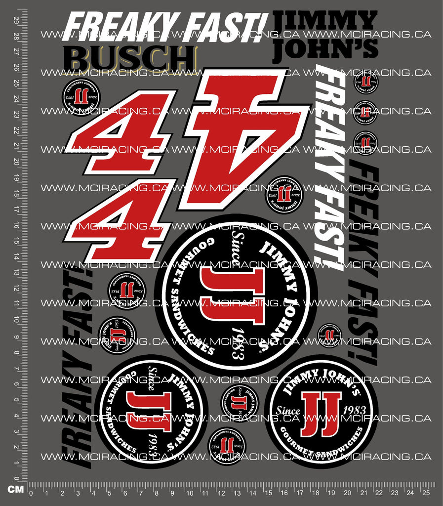 1/10TH NASCAR - JIMMY JOHN'S DECALS