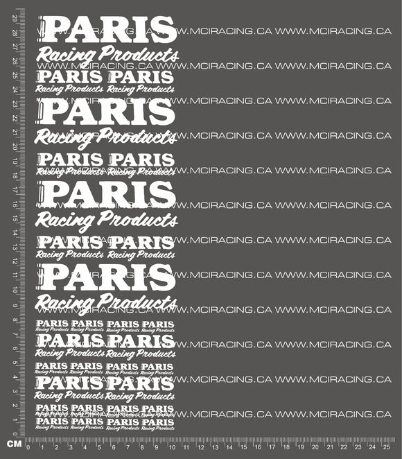 1/10TH PARIS RACING PRODUCTS DECALS