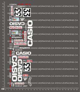 1/10TH TOYOTA - TS010 CASIO DECALS
