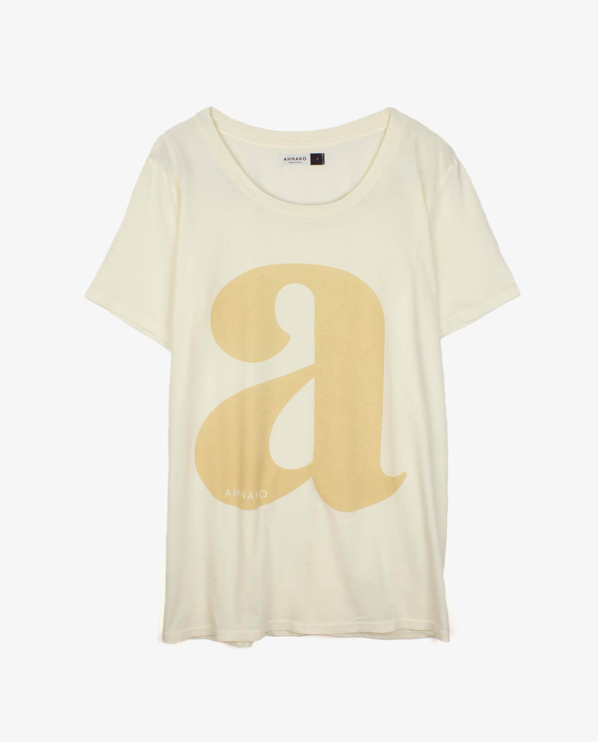 "Ahnako Women's Lowercase ""a"" - Cream T-shirt"