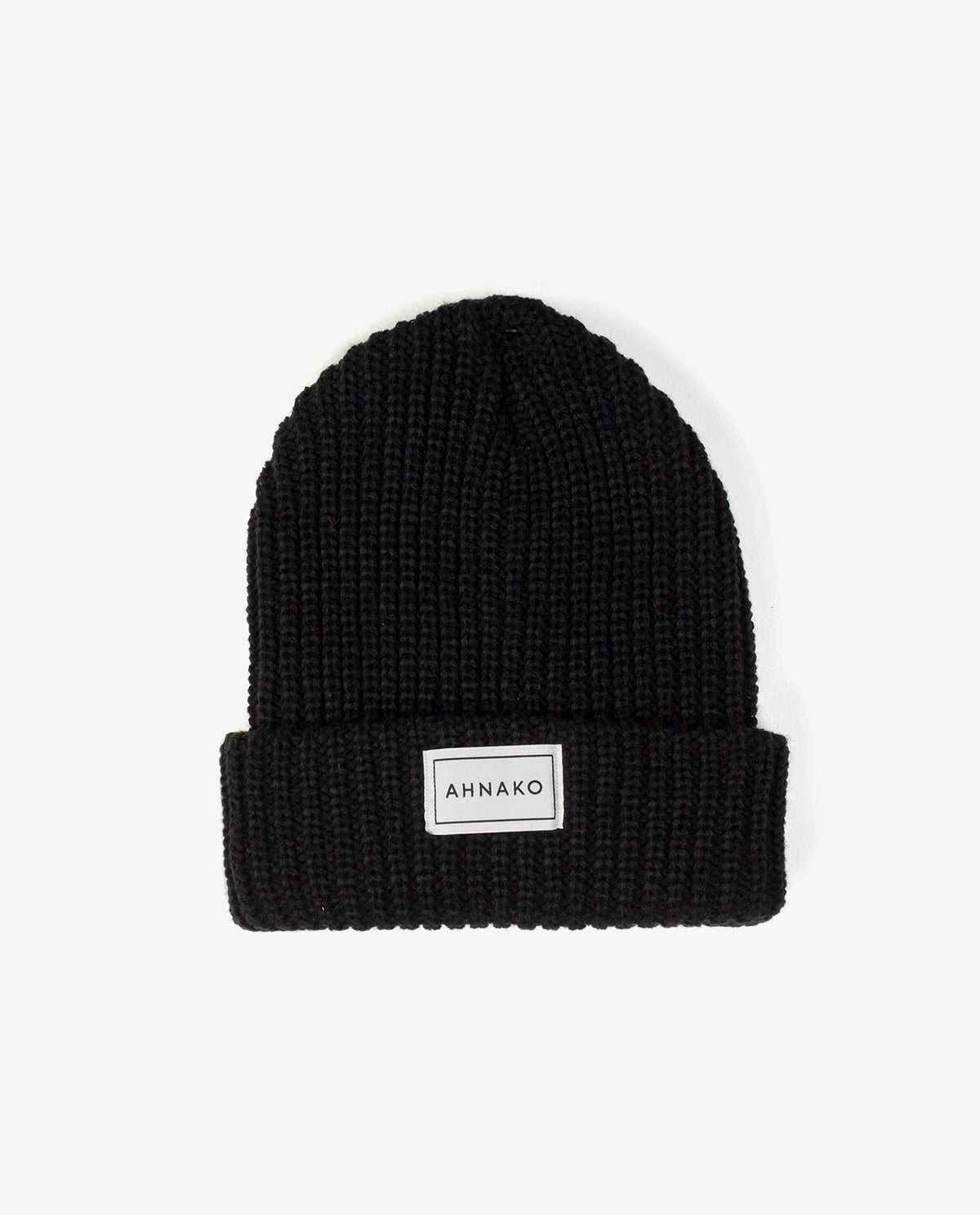Ahnako Thick Knitted Beanie - Black