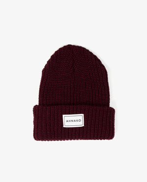 Ahnako Thick Knitted Beanie - Burgunday