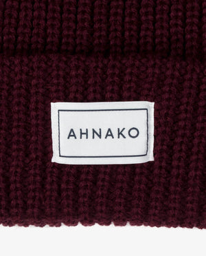 Ahnako Thick Knitted Beanie - Burgunday - Logo Patch