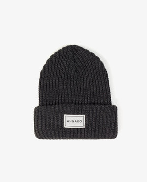 Ahnako Thick Knitted Beanie - Charcoal