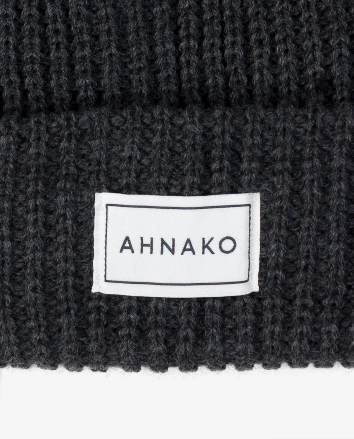 Ahnako Thick Knitted Beanie - Charcoal - Logo Patch