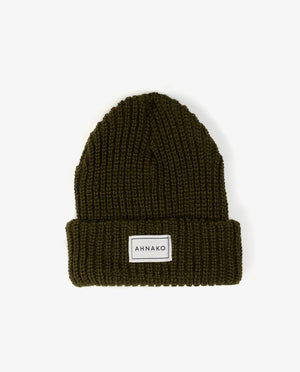 Ahnako Thick Knitted Beanie - Olive